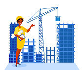 Woman architect, engineer showing on construction site with buildings by her hand. Female builder wears hardhat, hold blueprint project. Skyscrapers under construction.