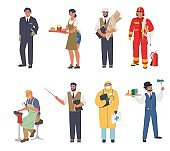 People of different occupations and professions, workers in uniform, cartoon character set, flat vector illustration.
