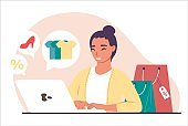 Happy girl shopping for clothes, shoes on the internet using laptop, vector illustration. Online ordering and delivery.