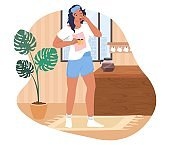 Sleepy woman waking up in the morning, flat vector illustration. Sad girl with cup of coffee.