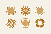 Vector illustration in simple style - design templates -sun and flowers objects