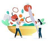People eating vegetarian food, fresh vegetable salad, flat vector illustration. Vegan diet, healthy lifestyle.