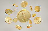 Explosion of gold coins with dollar sign. Jackpot or casino poke concept. 3d rendering.