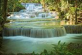 Huay Mae Khamin waterfall in Kanchanaburi turquoise water of cascade