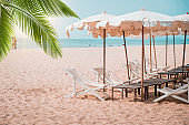 Deckchairs And Parasol With Palm Trees In The Tropical Beach