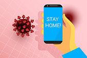 Stay home alert. Mobile phone in hand. Red coronavirus on skin color background. virus 3d model. Covid-19 pathogen icon. Vector sign