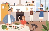 Family cooking together. Happy parents and children baking in kitchen. Son helps mother cook. Family with kids preparing food vector concept