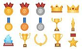 Trophies and medals. Award prize flat icon, olympic gold, silver and bronze medal with ribbon. Winner cup, glass reward and crown vector set