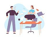 Yoga in office stress. Calm woman meditate in lotus on work desk with angry yelling boss. Employee in zen at workplace chaos vector concept