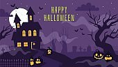 Halloween banner with haunted house. Poster with scary graveyard, full moon, spooky trees, tombstones and lantern pumpkins vector background