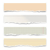Ripped colorful paper strips isolated on white background. Realistic crumpled paper scraps with torn edges. Lined shreds of notebook pages. Vector illustration