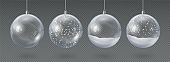 Realistic hanging glass christmas balls empty and with snow. 3d xmas tree decoration, transparent crystal sphere with snowflakes vector set