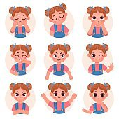 Cute child girl avatar facial emotions and feelings. Little kid face emoji with angry, sad, happy, shock and question expression vector set