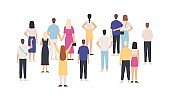 Crowd standing back view. Group of people from behind. Men and women meeting and looking. Gathering public, team or audience vector concept
