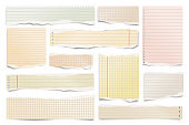 Colorful ripped paper strips isolated on white background. Realistic lined paper scraps with torn edges. Sticky notes, shreds of notebook pages. Vector illustration