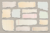 Ripped colorful paper strips. Realistic crumpled paper scraps with torn edges. Lined shreds of notebook pages. Vector illustration