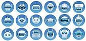 Robot head avatars. Cartoon virtual assistant, chat bot faces, robots logo, emoji and mascots. Futuristic android character icons vector set