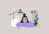 Video call frame, working from home concept, social distancing, a young female Asian character using online technologies to connect with friends, family, or colleagues