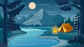 Mountain night camping. Cartoon forest landscape with lake, tent and campfire, sky with moon. Hiking adventure, nature tourism vector scene