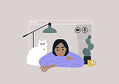 Video call frame, working from home concept, social distancing, a young female character using online technologies to connect with friends, family, or colleagues