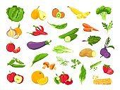 Vegetable and fruit. Fresh vegetarian organic food, veggies, salad, green, tropical fruits and berry. Healthy vegan farm products vector set