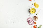 Food cooking background with ingredients copy space