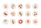 Summer circle stickers with fruits, drinks, swimsuit and beach umbrella. Perfect template for social media stories. Hand drawn vacation icons set.