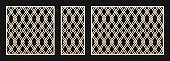 Laser cut pattern set. Vector template with abstract geometric grid, lattice