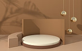 Creative empty stage, product platform, 3d rendering.