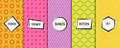 Colorful vector geometric seamless patterns collection with modern stickers