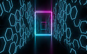 Dark tunnel with glowing neon lines, 3d rendering.