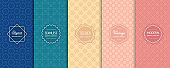 Vector seamless patterns set of colorful background swatches with minimal labels