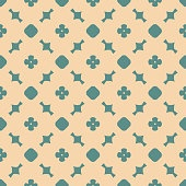 Simple vector retro style geometric floral seamless pattern. Tan and teal color