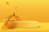 Autumn podium with realistic 3d pumpkin and maple leaves to display your product for Thanksgiving. Showcase and shelf. Empty minimal scene. Vector illustration