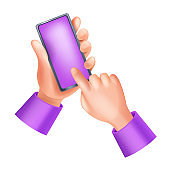 3D hands holding smartphone, vector touch screen illustration, human finger, mobile app UI icon.