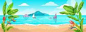 Beach landscape, summer sea vector background, sand, ocean surf, banana leaves, exotic flowers, boat.
