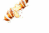 Bread slices and crumbs isolated on a white background - Top view with copy space, Flat lay for web banner