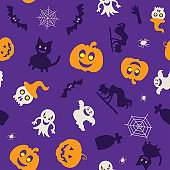 Seamless vector pattern for Halloween design. Halloween symbols: pumpkin, spider, ghost, bat in cartoon style. Vector Illustration.