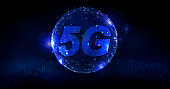 5G network internet mobile wireless business concept - Global network high speed innovation connection dark blue background
