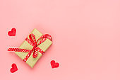 Romantic decoration on pink background Top view Flat lay Happy Valentine's day, birthday, Women's day concept Holiday card Place for text Love in the air