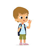 Smiling Blond Boy Greeting Waving Hand and Saying Hi