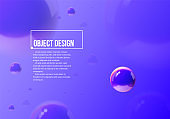 Abstract background with blue and purple balls flying in perspective for science and business wallpaper. Vector illustration