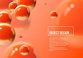 Abstract background with orange or lush lava balls flying in perspective for science and business wallpaper. Vector illustration