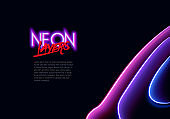 Neon glass layers stacked with reflections for 80s or 90s styled abstract background in synthwave, retrowave or cyberpunk shiny neon style