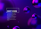 Abstract background with neon shiny blue and purple balls flying in perspective for science and business backdrop or wallpaper. Vector illustration