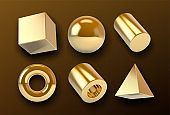 Collection of golden 3D vector shapes with realistic metallic shine and reflections. Vector illustration