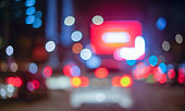 Defocused image of busy highway at night