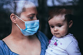 Cute little girl and Mother whit protective mask standing next to the window