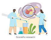 Cheerful team of medical workers is conducting scientific research together on white background