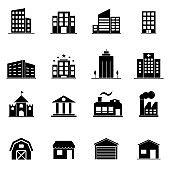 Icon set - Building filled icon style vector illustration on white background. Symbol, logo illustration.